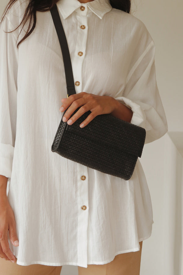 Marcel Woven Belt Bag - Black