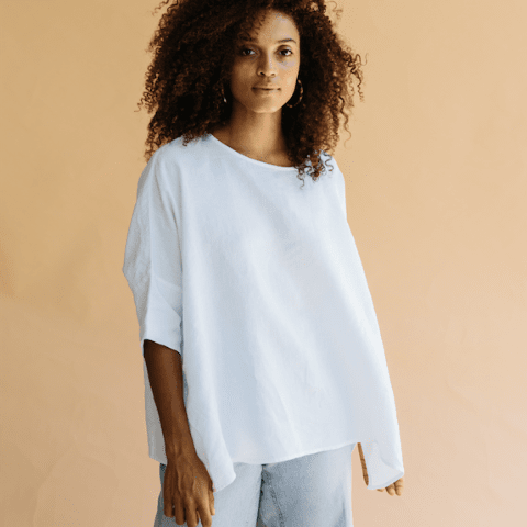 Su Su Linen Boxy Top - White