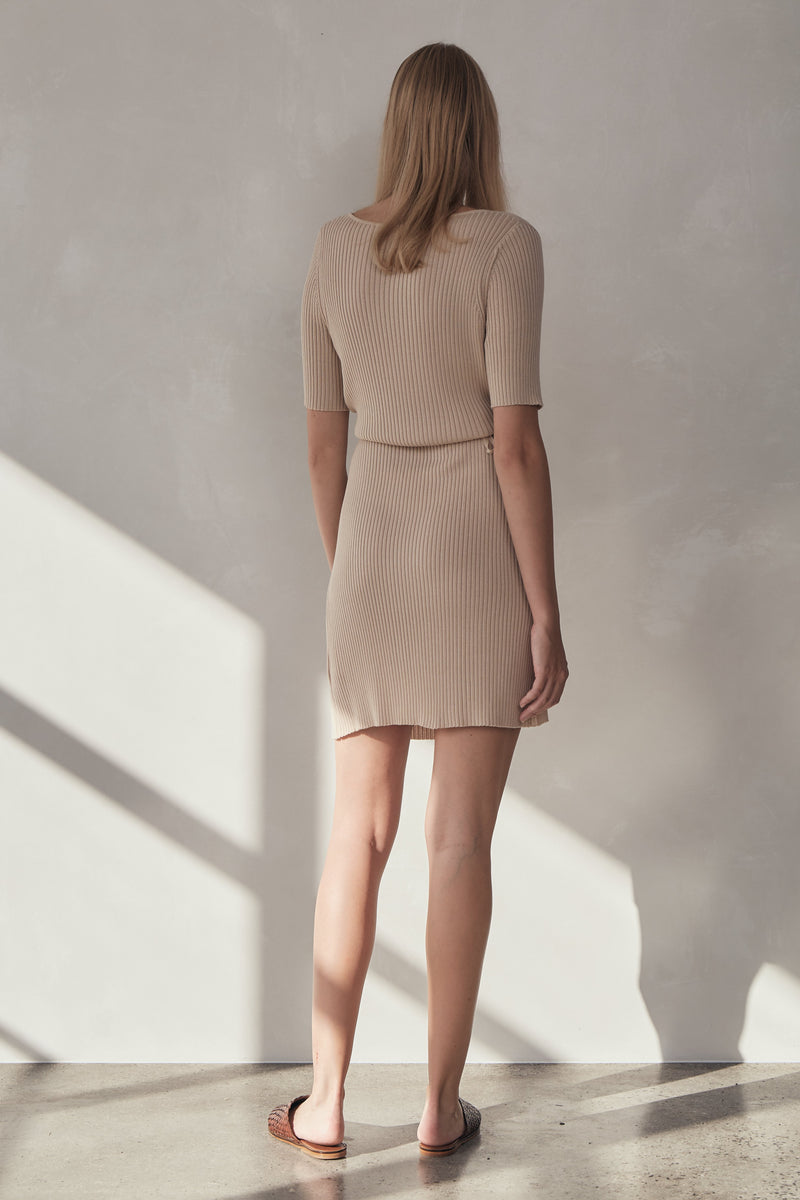 Anais Wrap Knit Dress - Sand