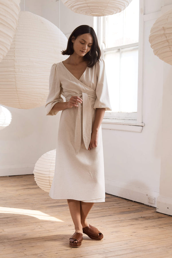 Delphine Wrap Dress - Ecru