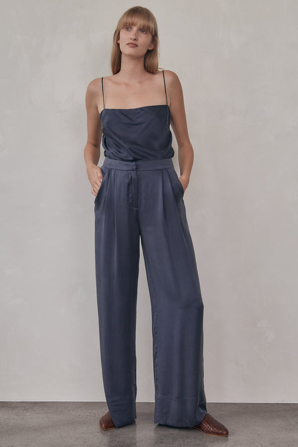 Patti Silk Pants - Navy