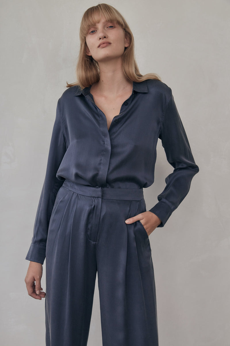 Bleu Silk Shirt - Navy