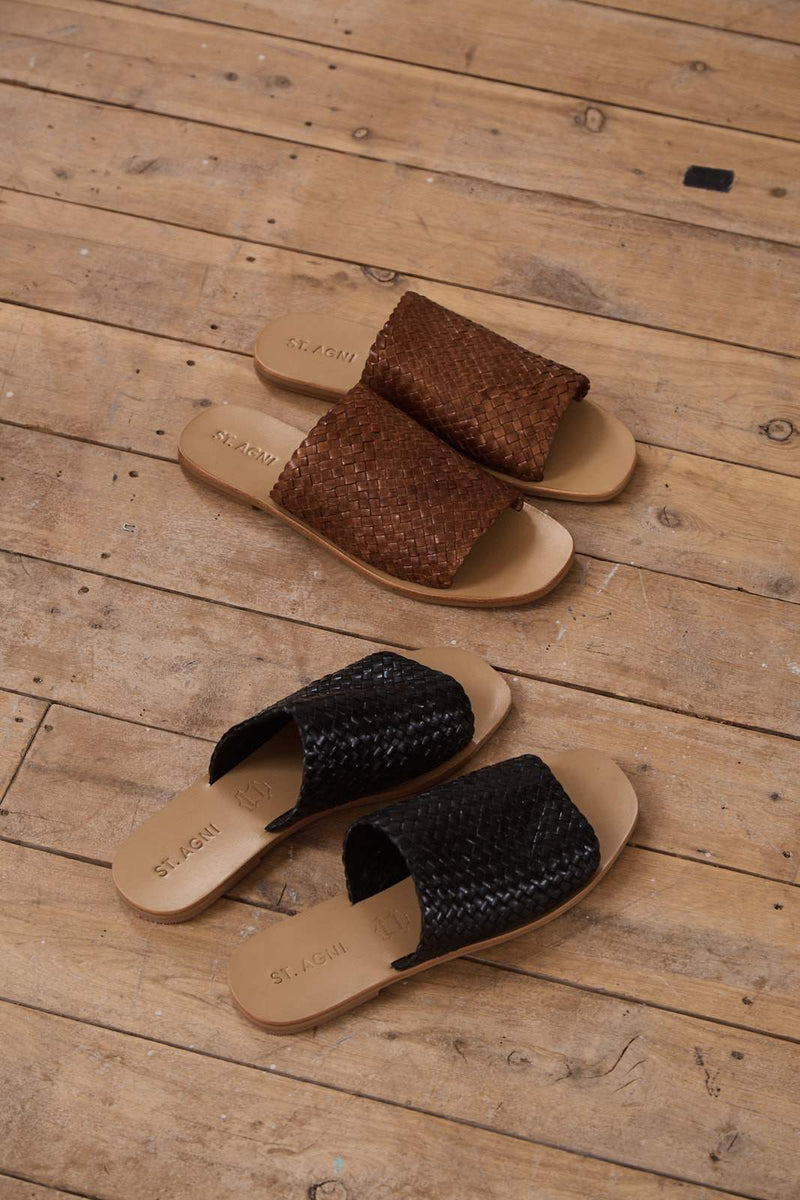 Pia Woven Slide - Antique Tan