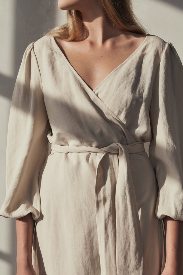 Delphine Wrap Dress - Ivory