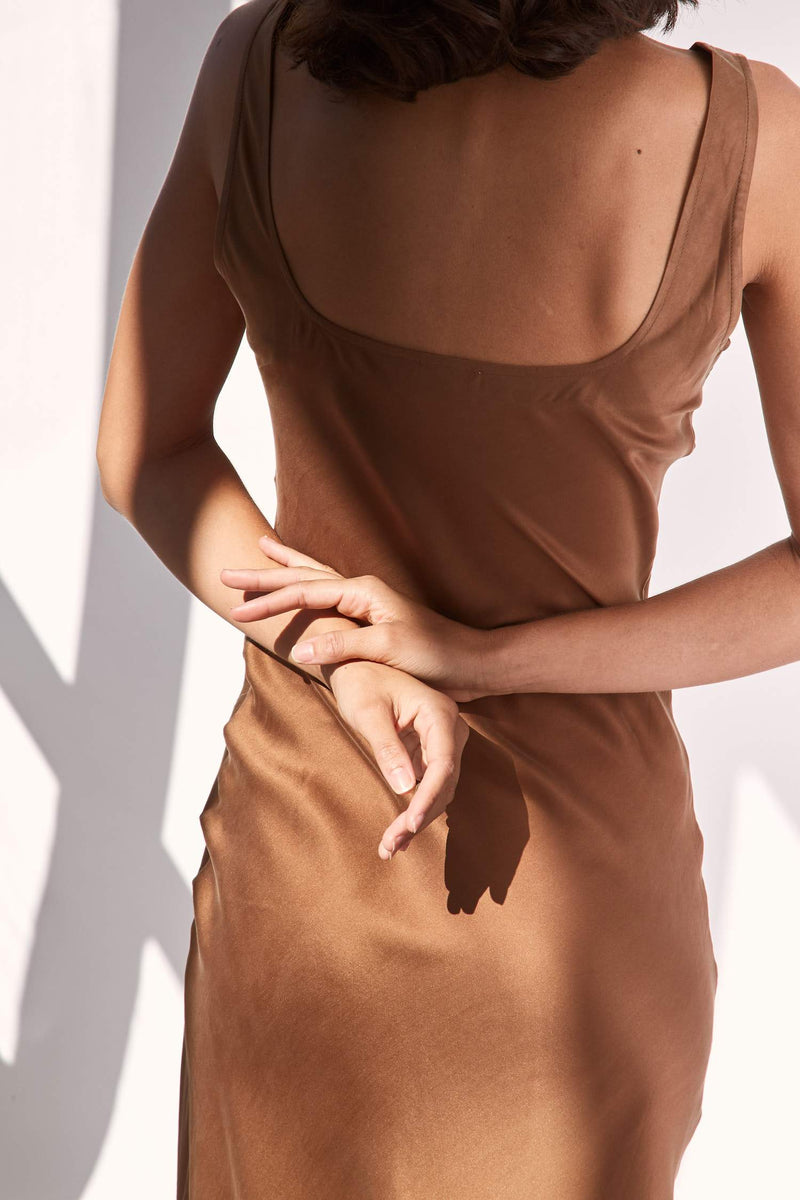 Selma Silk Slip Dress - Mocha