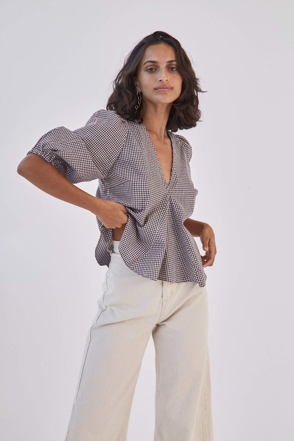 Sunday Picnic Blouse - Brown Gingham