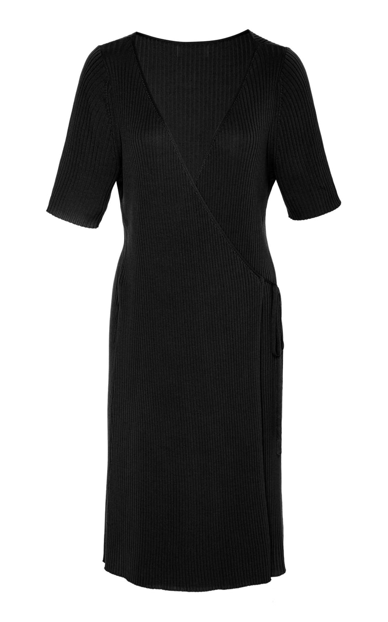 Anais Wrap Knit Dress - Black