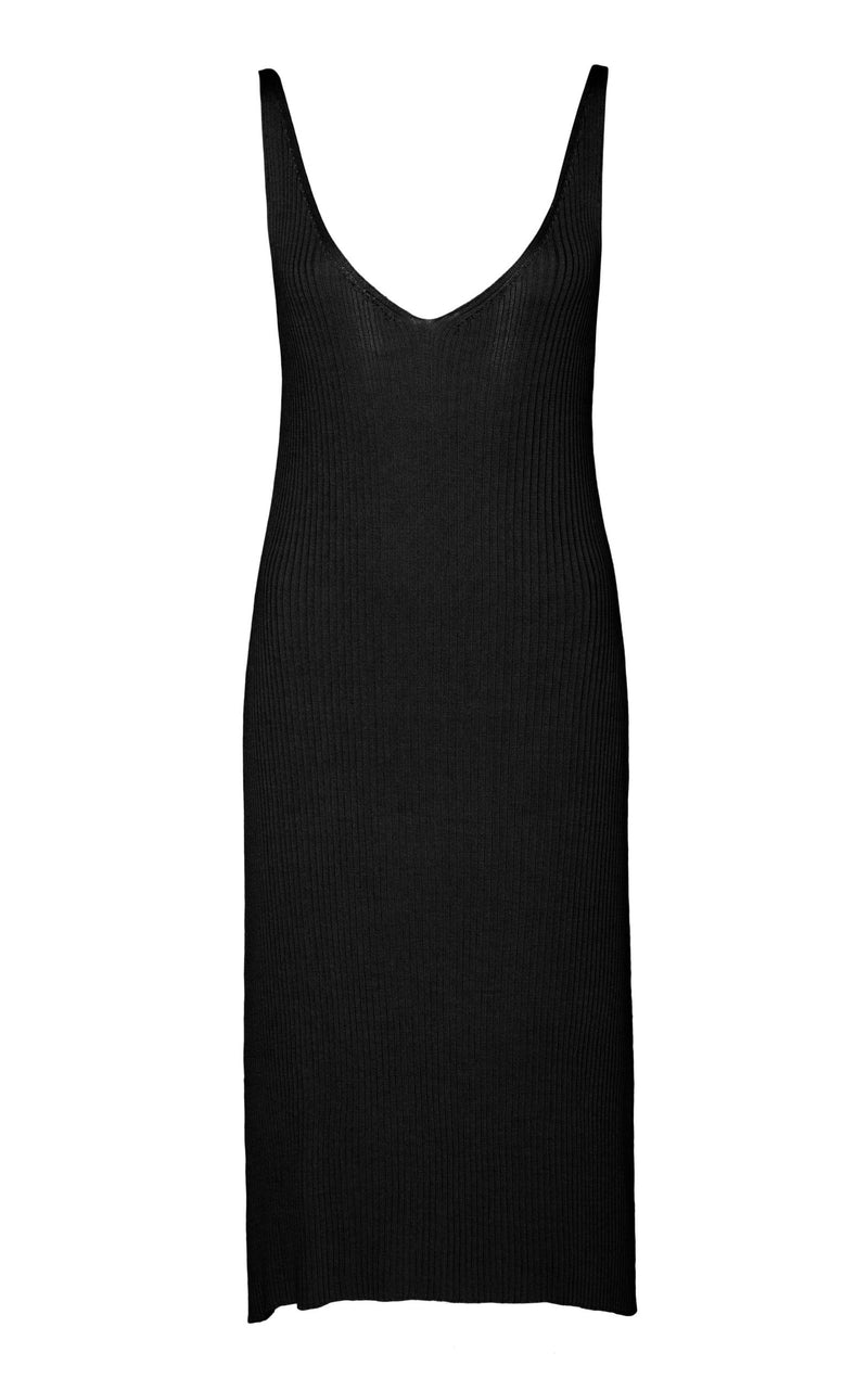 Loic Knit Slip Dress - Black