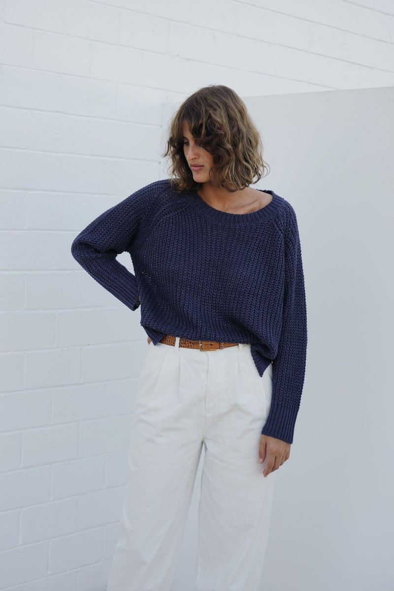 Charlie Linen Fisherman Knit - Navy