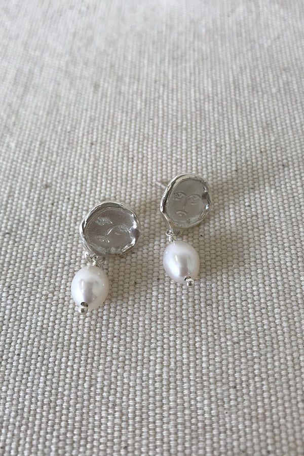 Mini Matisse Pearl Drop Earrings - Silver - By Holly Ryan