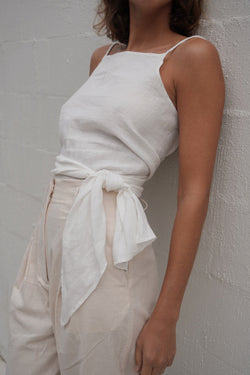 Linen Wrap Top - Vintage White