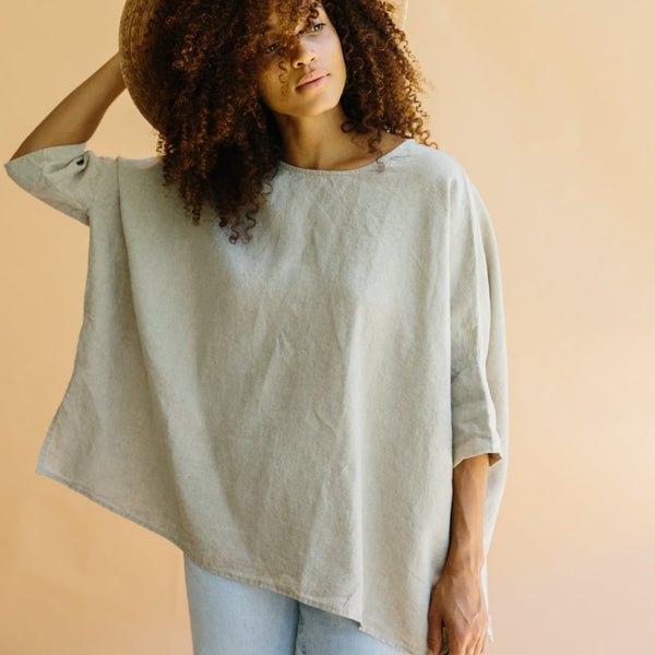 ST. AGNI Su Su Linen Boxy Top - Natural