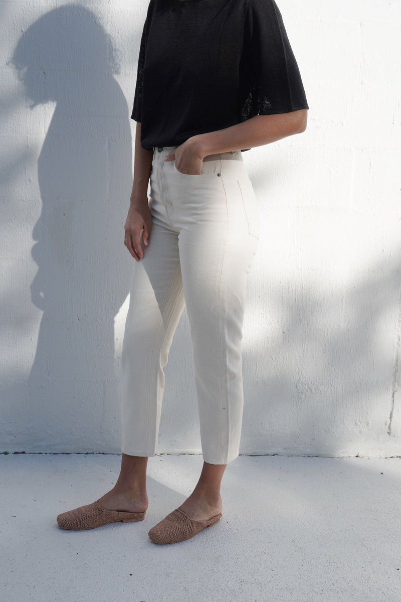 Audrey Slim Crop Denim - Natural