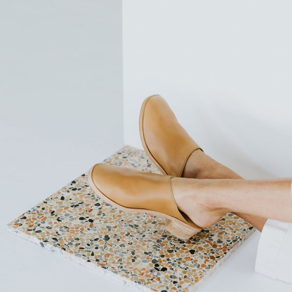 ST. AGNI Berta Leather Mules - Almond