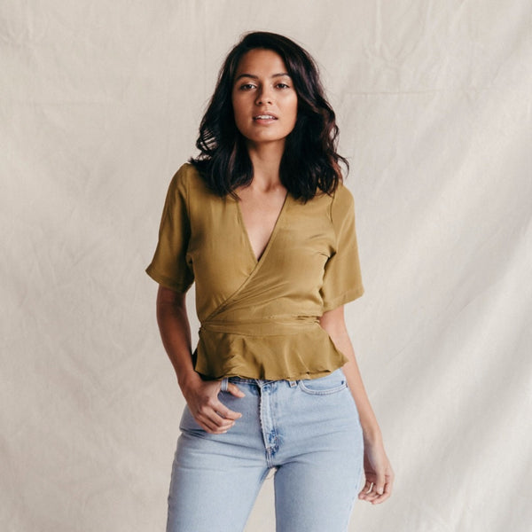 ST. AGNI Jean Silk Wrap Top - Golden Moss