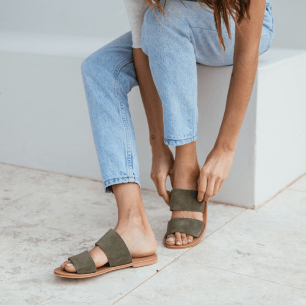 ST. AGNI KEIKO Double Strap Slides - Olive Suede