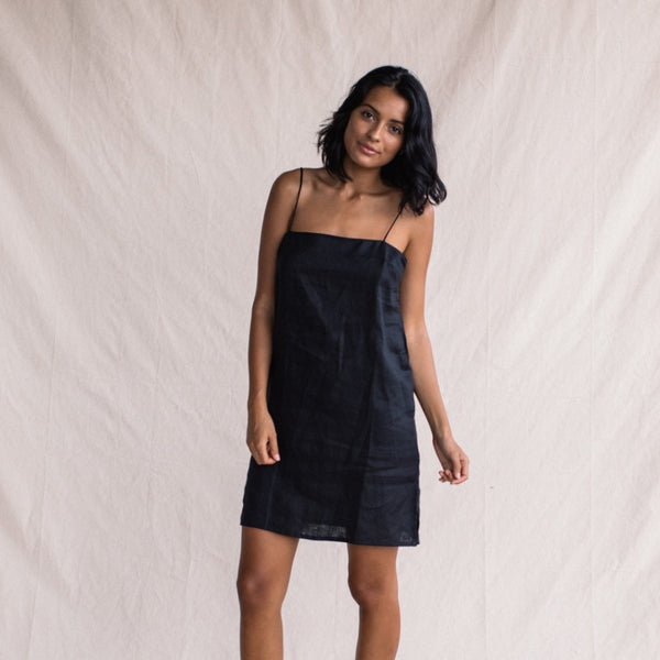 ST. AGNI Linen Summer Dress - Black
