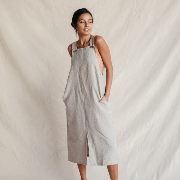 ST. AGNI Quincy Linen Pinafore - Natural