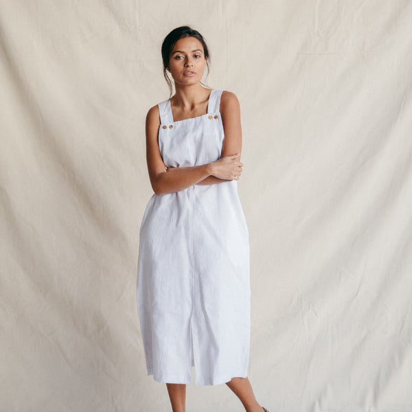 ST. AGNI Quincy Linen Pinafore - White