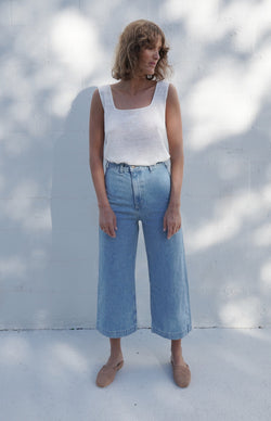 Jacques Wide Crop Denim - Light Indigo