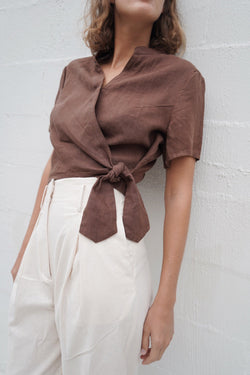 Willa Wrap Blouse - Cocoa
