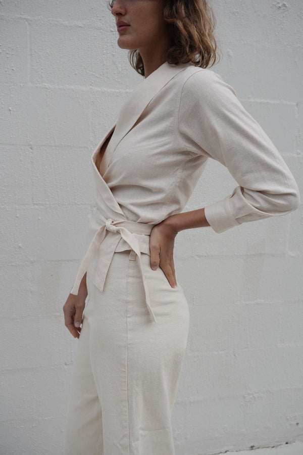 Fedora Wrap Top - Vintage White