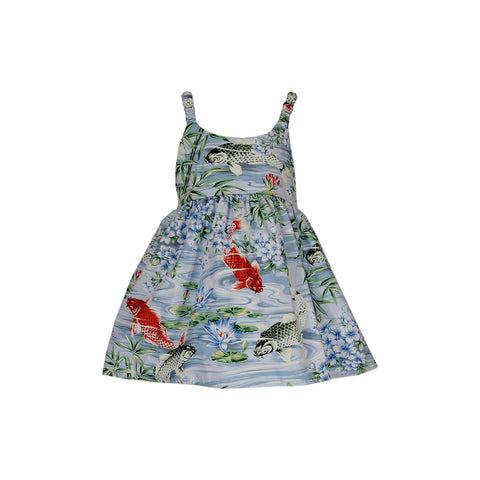 Sunburst Red Hawaiian Girl's Sundress with Elastic Straps