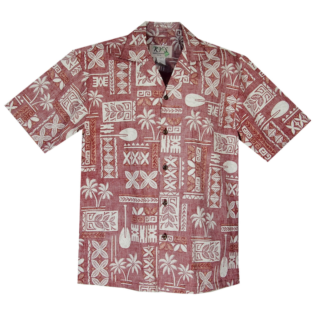 60ca2fe6 Hieroglyphics Red Cotton Vintage Hawaiian Shirt - PapayaSun ...