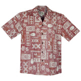 Hieroglyphics Red Cotton Vintage Hawaiian Shirt - PapayaSun