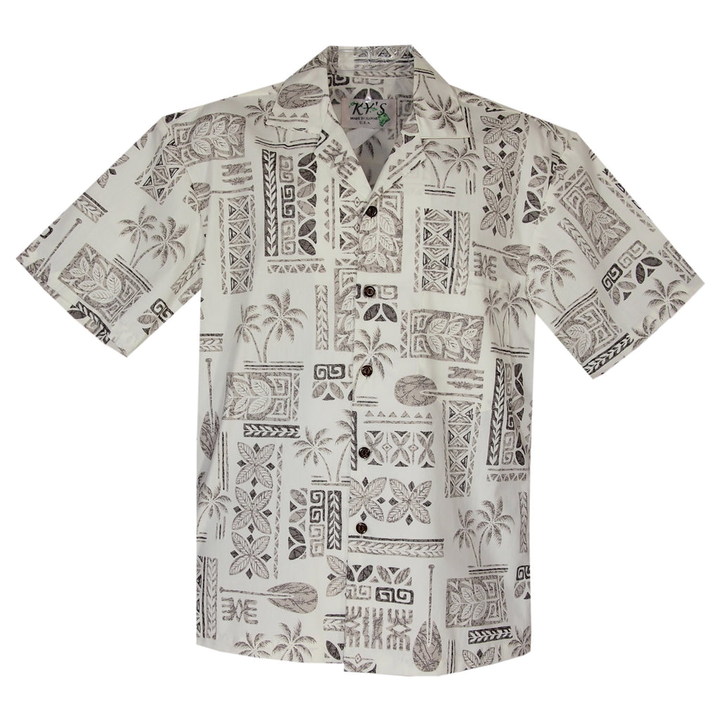 Hieroglyphics White Cotton Vintage Hawaiian Shirt - PapayaSun