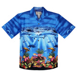 Sea World Blue Border Hawaiian Shirt - PapayaSun
