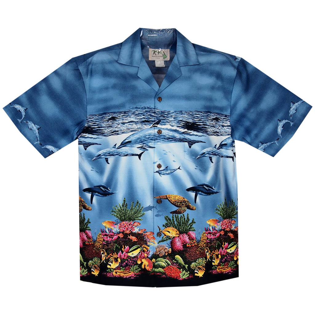 Sea World Dark Blue Border Hawaiian Shirt - PapayaSun