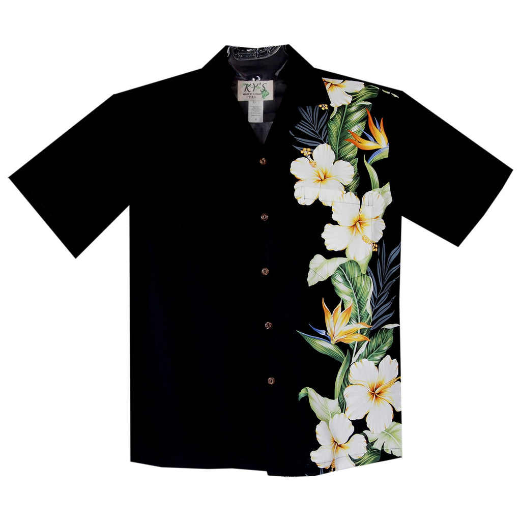 Hibiscus Bird Black Vertical Border Hawaiian Shirt - PapayaSun
