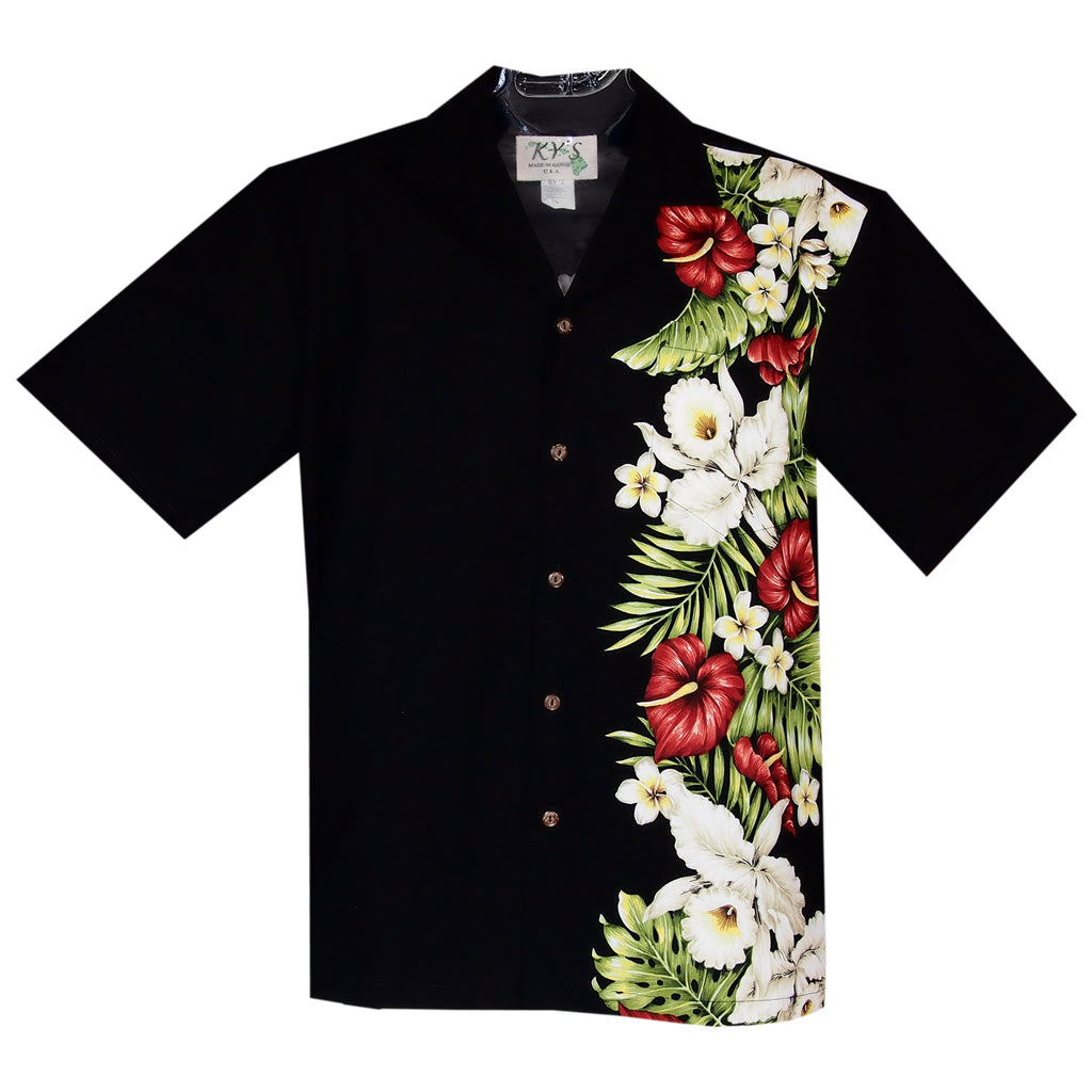 Anthurium Black Vertical Border Hawaiian Shirt - PapayaSun