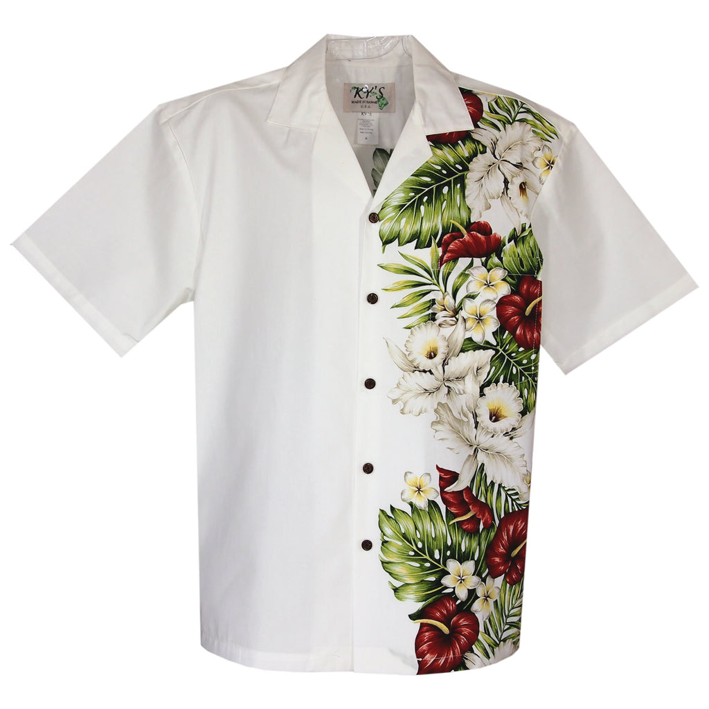 Anthurium White Vertical Border Hawaiian Shirt - PapayaSun
