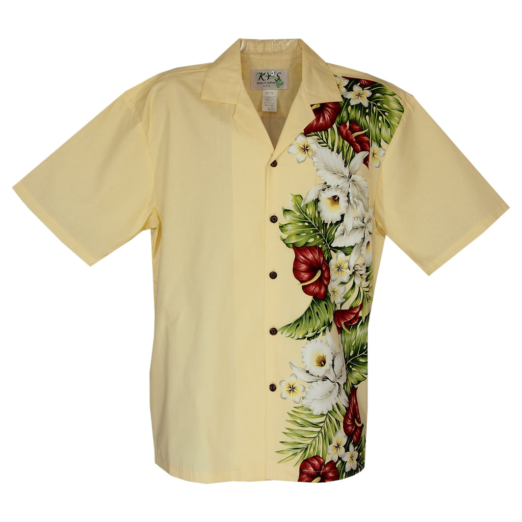 Anthurium Yellow Vertical Border Hawaiian Shirt - PapayaSun
