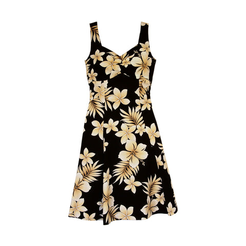 Paradise Black Short Hawaiian Sheath Floral Dress