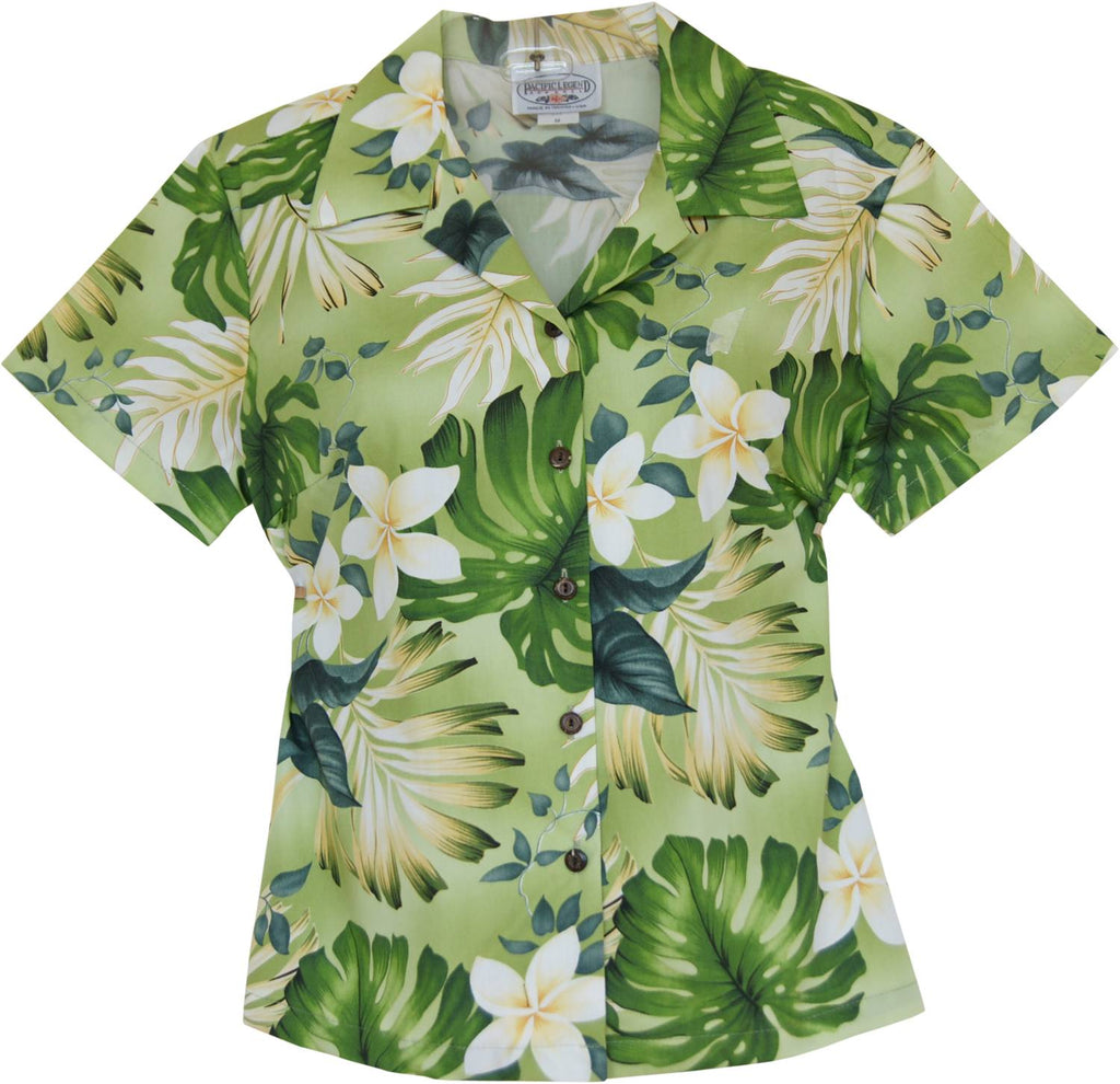 Amazon Green Hawaiian Women's Cotton Blouse - PapayaSun
