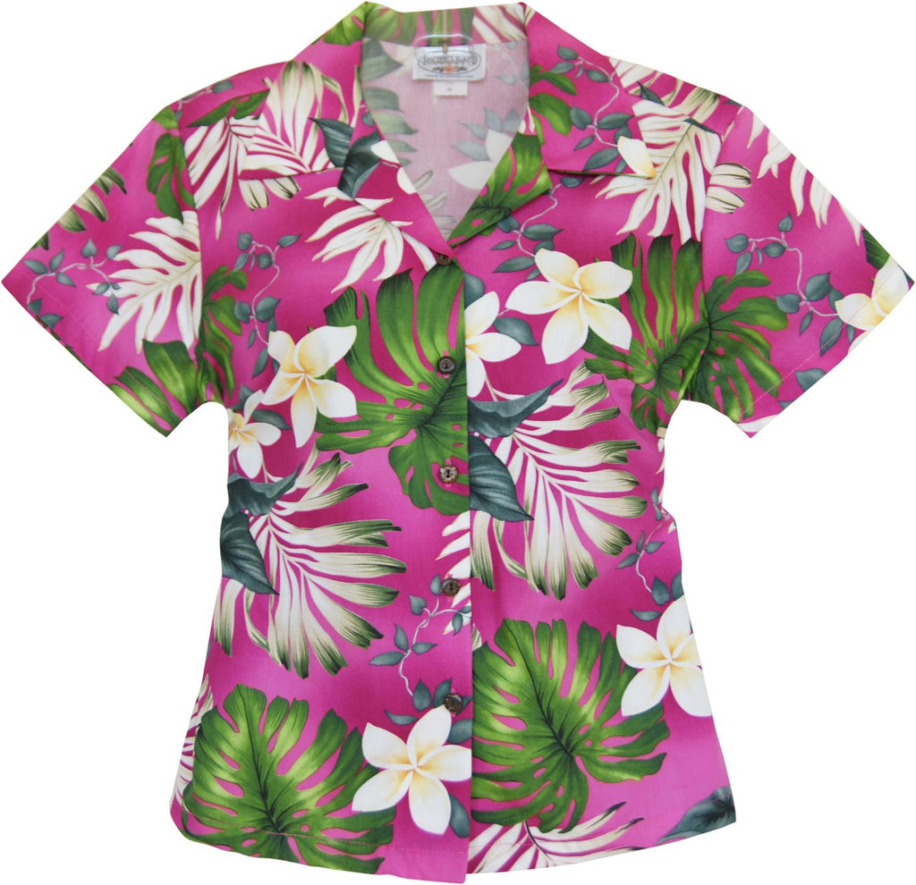 Amazon Pink Hawaiian Women's Cotton Blouse - PapayaSun