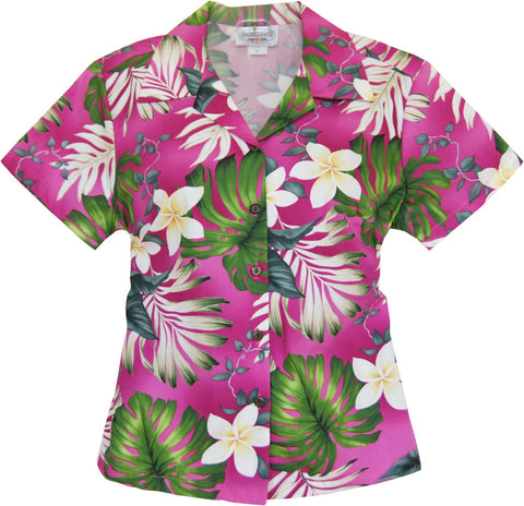 Delight Green Hawaiian Women's Cotton Blouse