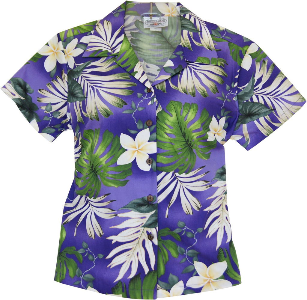 Amazon Purple Hawaiian Women's Cotton Blouse - PapayaSun