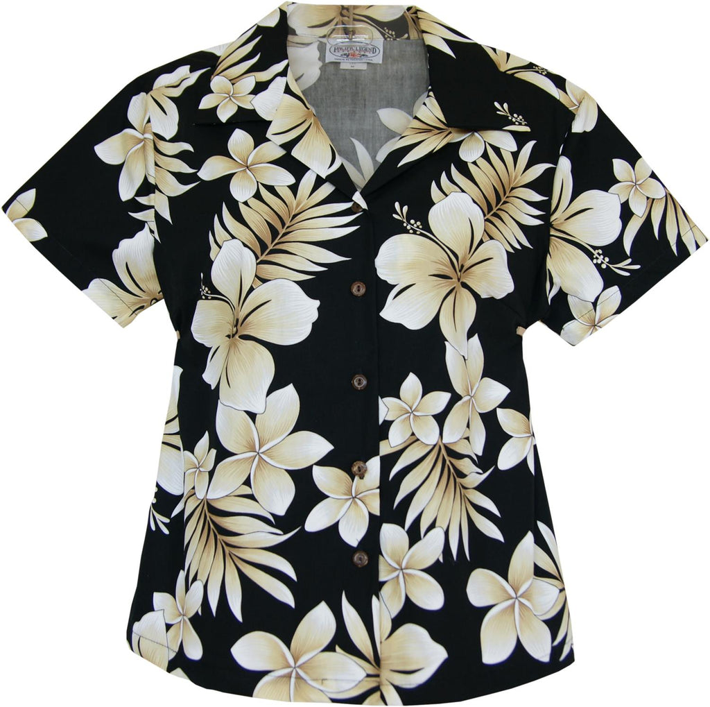 Beachcomber Black Hawaiian Women's Cotton Blouse - PapayaSun