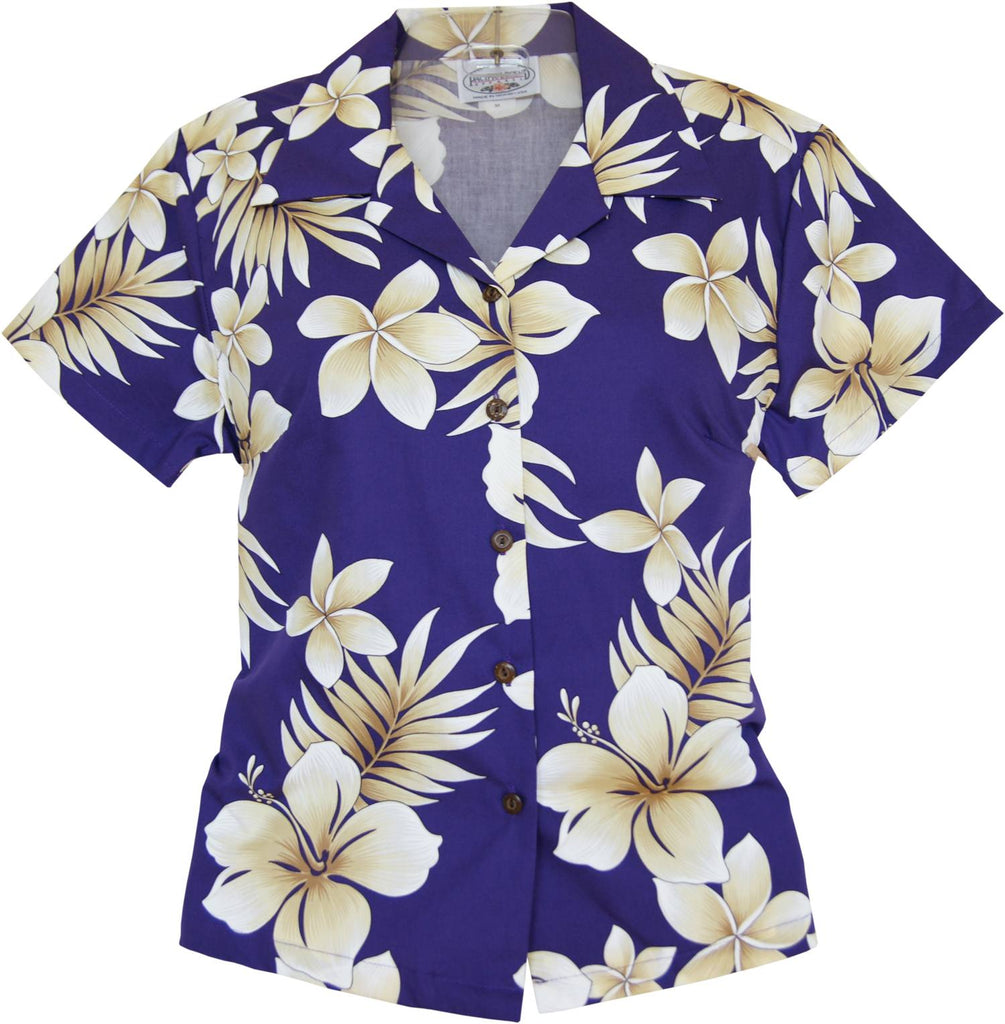 Beachcomber Purple Hawaiian Women's Cotton Blouse - PapayaSun