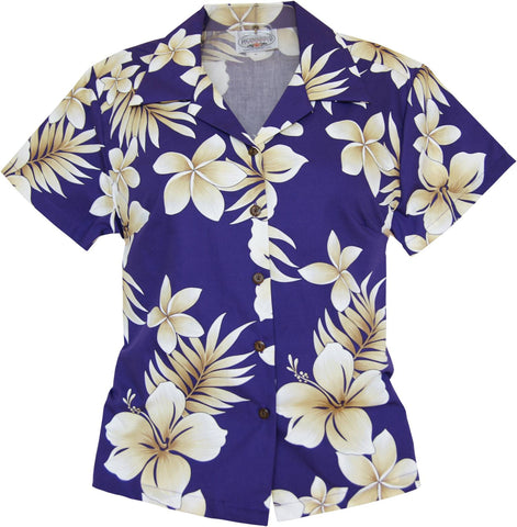 Amazon Green Hawaiian Women's Cotton Blouse
