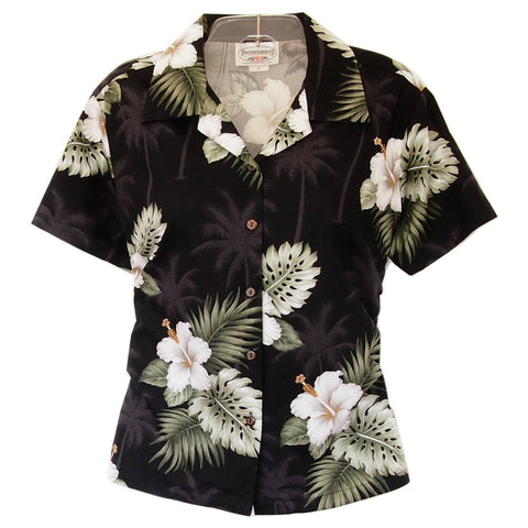 Parrot-Dise White Hawaiian Women's Camp Blouse