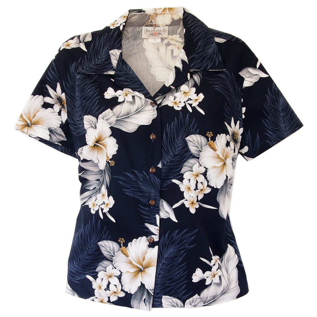 Blueberry Navy Hawaiian Women's Cotton Blouse