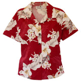 Chili Red Hawaiian Women's Cotton Blouse