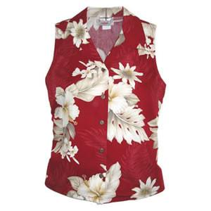 Chili Red Hawaiian Women's Sleeveless Shirt - PapayaSun