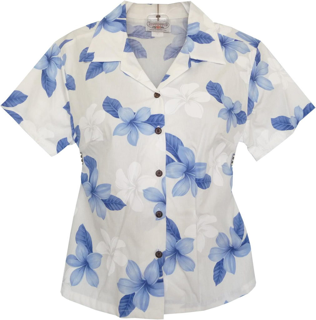 Delight Blue Hawaiian Women's Cotton Blouse - PapayaSun