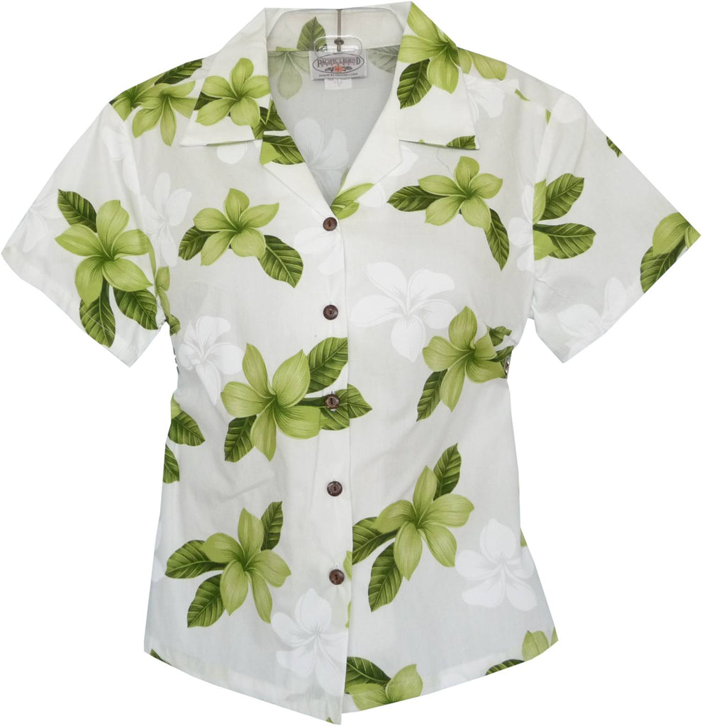 Delight Green Hawaiian Women's Cotton Blouse - PapayaSun